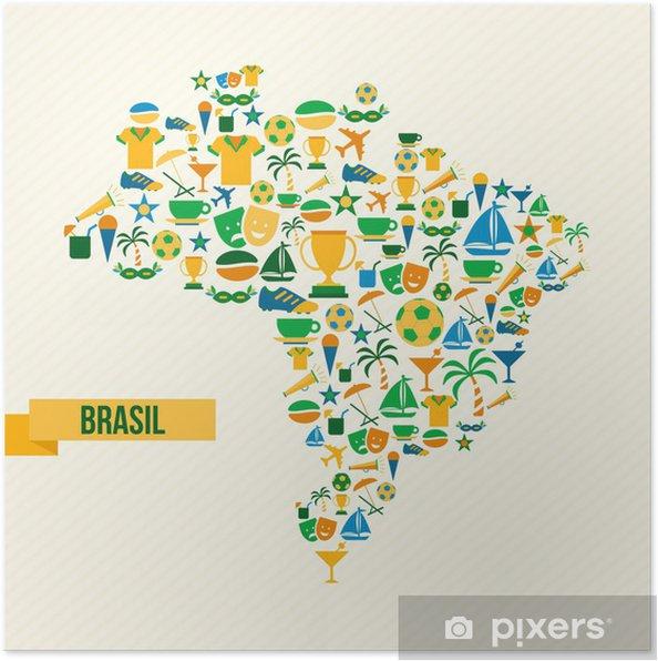 Jalkapallo Kuvakkeet Brazil Kartta Juliste Pixers Elamme
