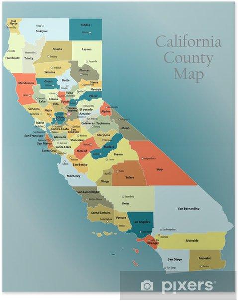 Kalifornia Laanin Kartta Juliste Pixers Elamme Muutoksille