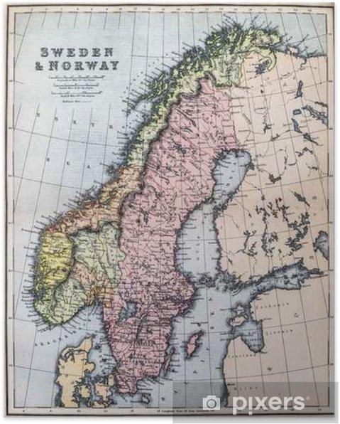Kartta 1800 Luvun Sweden Ja Norja Juliste Pixers Elamme