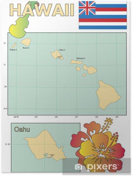 Kartta Hawaii Valtion Lipun Alla Juliste Pixers Elamme