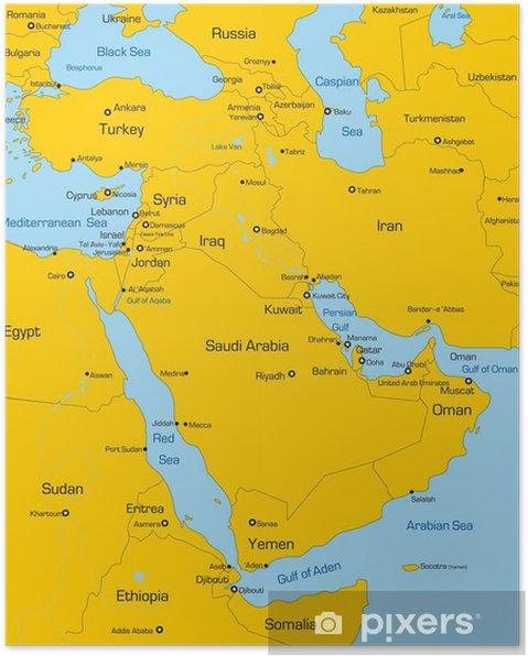 Kartta Lähi-idän maata Juliste - Themes