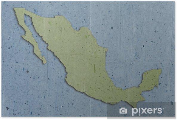 Kartta Mexico Vintage Kivi Rakenne Sininen Ja Vihrea Juliste