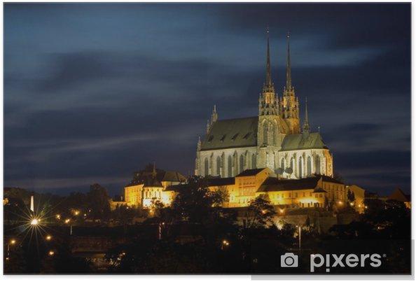 Katedraali petrov yöllä - brno tšekki Juliste -