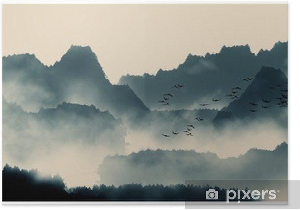 Kiinalainen muste ja vesi maisemamaalaus Juliste - Graafiset Resurssit