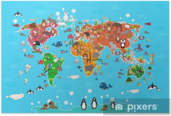 Maailman kartta eläinten kanssa. apina ja siili, karhu ja kenguru, jänis susi panda ja pingviini ja papukaija. eläimet maailman kartta vektori kuva sarjakuva tyyliin Juliste - Julkiset Rakennukset