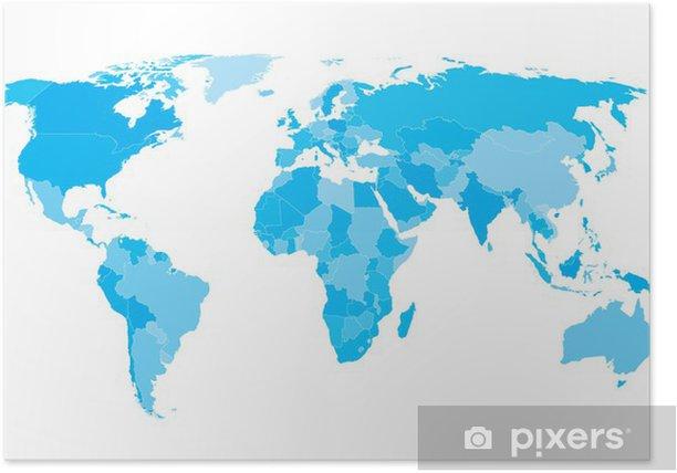 Maailman Kartta Maat Valkoisella Aariviivat Syaani Eps10 Vektori