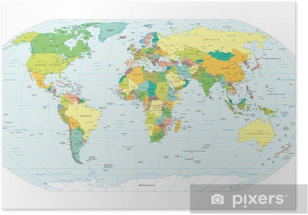 Maailman Kartta Poliittiset Rajat Juliste Pixers Elamme