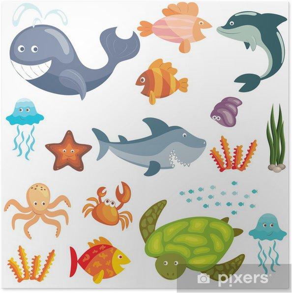 Meren eläimet asetettu Juliste - Seinätarra