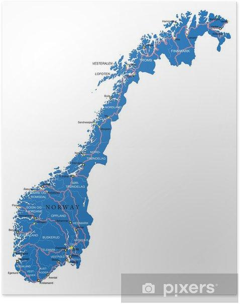 Norjan Kartta Juliste Pixers Elamme Muutoksille