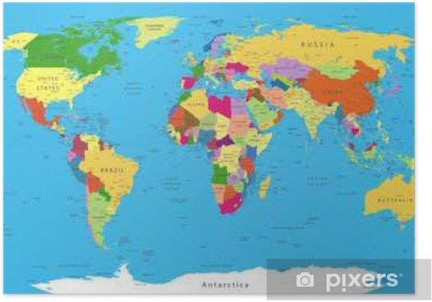 Poliittisen Maailman Kartta Juliste Pixers Elamme Muutoksille