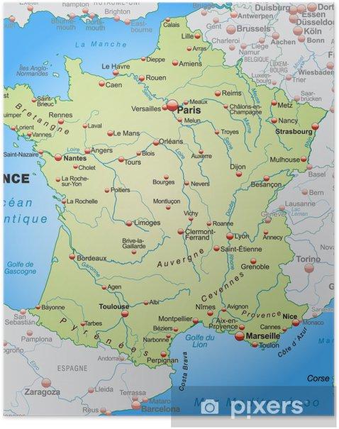 Ranska Kartta Naapurimaiden Kanssa Juliste Pixers Elamme