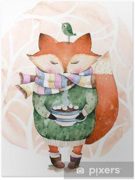 Söpö pikku kettu vain juoda kuumaa kahvia.väriväri illustration.fox ja  lintu vesiväri.perfect cristmas ja onnellinen uudenvuoden kortti ab28557b24