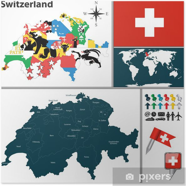 Sveitsin Kartta Juliste Pixers Elamme Muutoksille