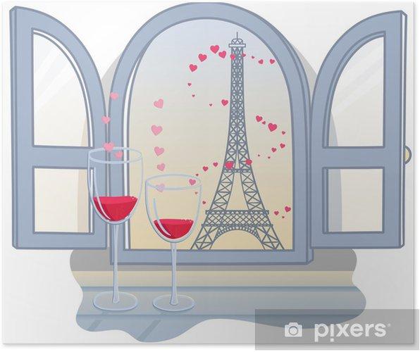 Valentinin effel-torni ja kaksi lasillista viiniä. vektori kuva Juliste - Monumentit