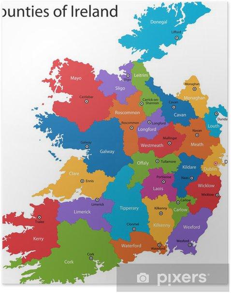 Varikas Tasavalta Irlanti Kartta Alueilla Juliste Pixers