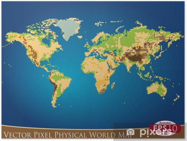 Vektorin Pikselin Fyysinen Maailman Kartta Juliste Pixers