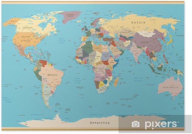 Vintage Maailman Kartta Juliste Pixers Elamme Muutoksille