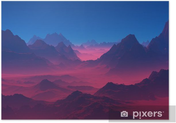 Vuoret auringonlaskun aikaan Juliste - Maisemat