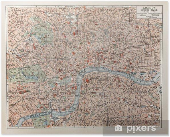 Vuosikerta Kartta Lontoo Juliste Pixers Elamme Muutoksille