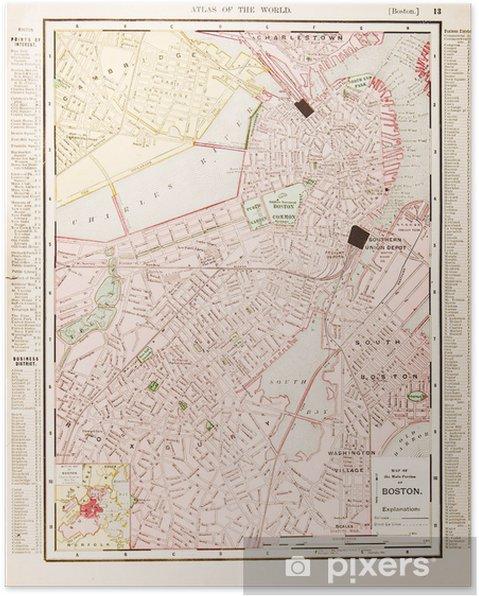 Yksityiskohtainen Antiikki Vari Katu Kaupungin Kartta Boston