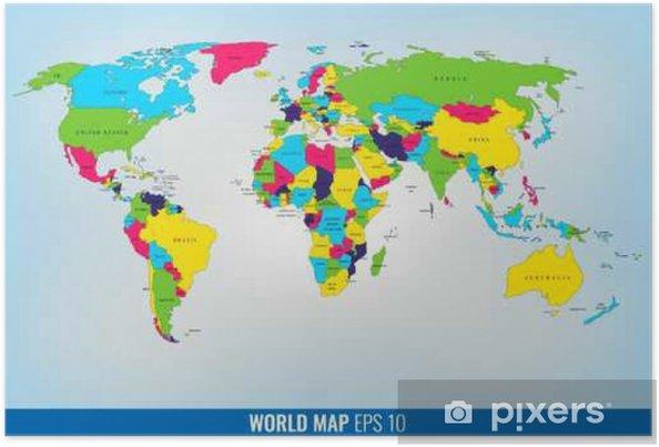 Yksityiskohtainen Maailman Kartta Vektori Juliste Pixers