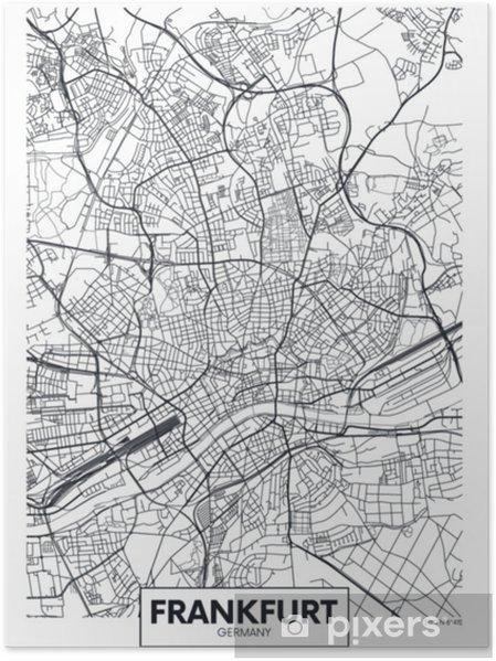 Yksityiskohtainen Vektori Juliste Kaupungin Kartta Frankfurt