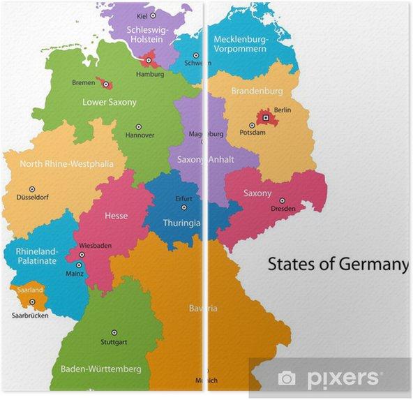 Varikas Saksa Kartta Alueineen Ja Paakaupungeineen Kaksiosainen