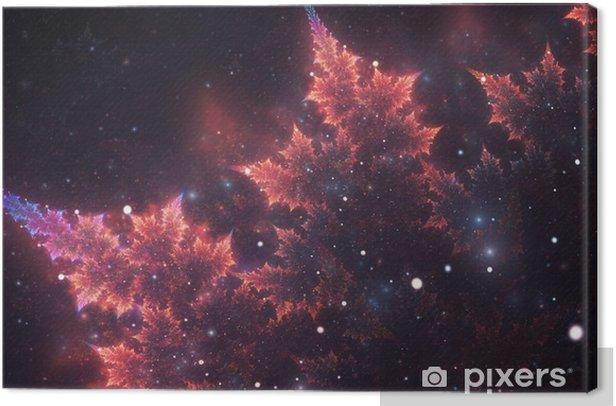 Abstrakti fraktaali, koristeellinen kuohuviini violetti-oranssi haara pehmeällä hämärtymisellä tummalla kosmisella pohjalla Kangaskuva - Graafiset Resurssit
