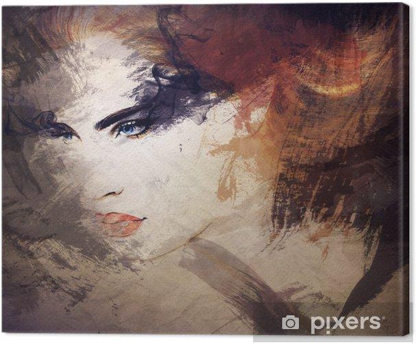 Abstrakti vesiväri. nainen muotokuva Kangaskuva -