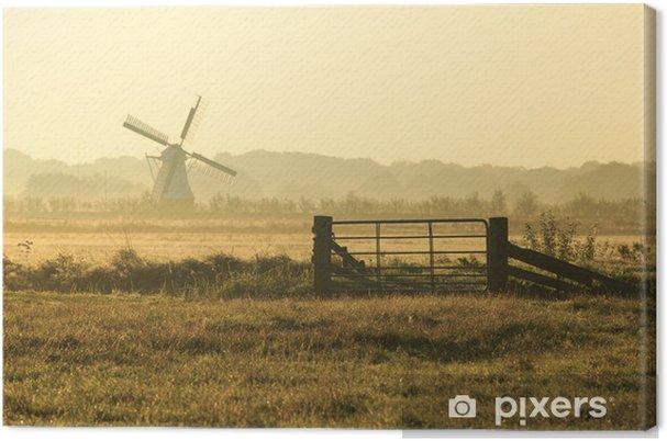 Aita ja tuulimylly hollantilaisessa maaseudulla. Kangaskuva - Mills and windmills