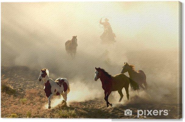 Auringonvaloa hevoset ja cowboy galloping ja läpi aavikon Kangaskuva -