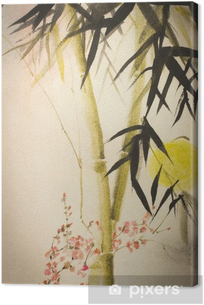 Aurinko bambu ja luumu haara Kangaskuva - Kasvit Ja Kukat