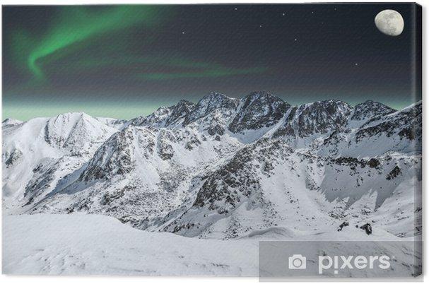 Aurora ja kuu vuoristossa Kangaskuva -