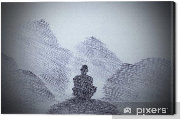 Buddhalainen munkki vuoristossa Kangaskuva - Kulttuuri Ja Uskonto