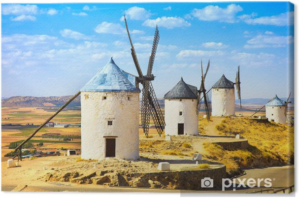 Don quixote tuulimyllyjä consuegra. castile la mancha, espanja Kangaskuva - Mills and windmills
