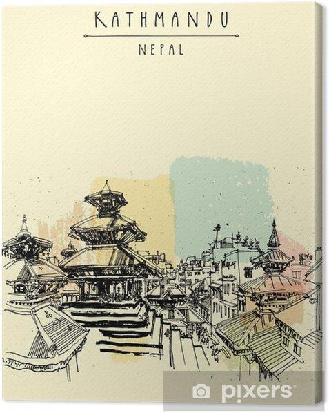 Durbar-neliö. hindu temppelit basantapurissa, kathmandu, nepal, ennen maanjäristystä. matkailu luonnos. käsi piirustus. vintage matkailukortti, juliste, kirja kuvassa vektori Kangaskuva - Rakennukset Ja Arkkitehtuuri