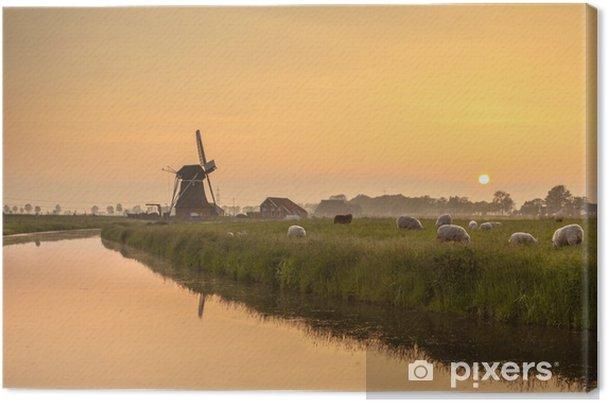 Hollanti polderin maisema oranssin auringonlaskun aikana Kangaskuva - Euroopan Kaupunkeja
