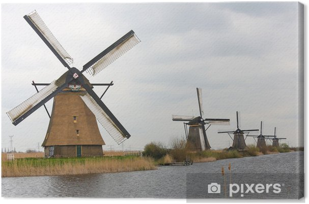 Hollantilainen tuulimylly at kinderdijk, lähellä rotterdamia, hollanti Kangaskuva - Mills and windmills