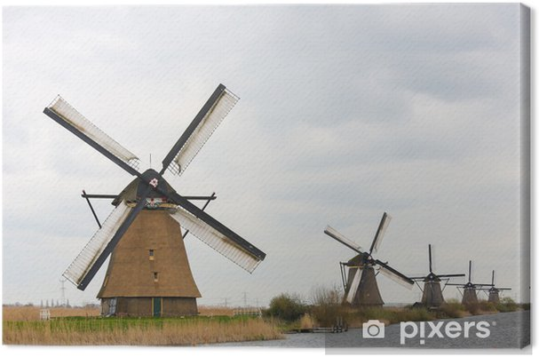 Hollantilainen tuulimylly at kinderdijk, lähellä rotterdamia, hollanti Kangaskuva - Mills and windmills