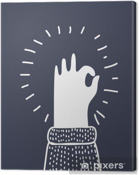 Ihmisen käsi, joka näyttää ok näköä, sormet osoittavat hyvän valtion symboli. ok -kuvake Kangaskuva - Ihmiset
