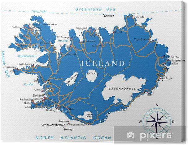 Islanti Kartta Kangaskuva Pixers Elamme Muutoksille