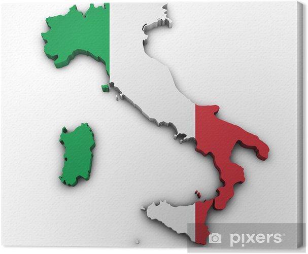 Italia Kartta Lippu Muoto Kangaskuva Pixers Elamme Muutoksille