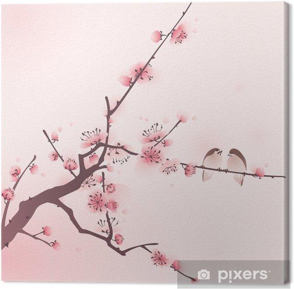 Itämainen tyyli maalaus, kirsikankukka keväällä Kangaskuva - Themes