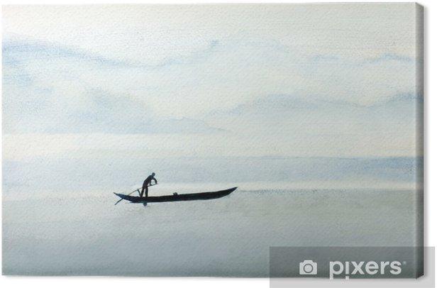 Kalastajia veneellä Kangaskuva - Ihmiset