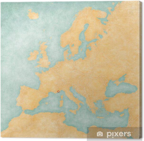 Kartta Europe Monaco Vintage Sarja Kangaskuva Pixers