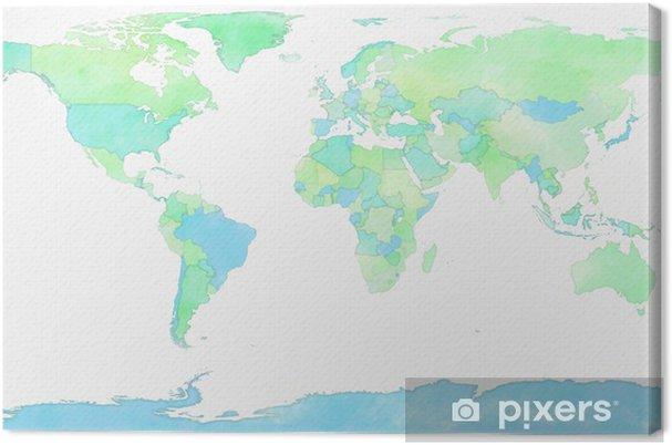 Kartta Maailma Piirretty Kuva Kangaskuva Pixers Elamme