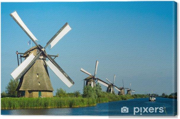 Kaunis hollantilainen tuulimylly maisema Kangaskuva - Mills and windmills