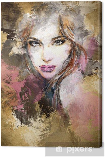 Kaunis nainen kasvot. vesiväri kuva Kangaskuva -