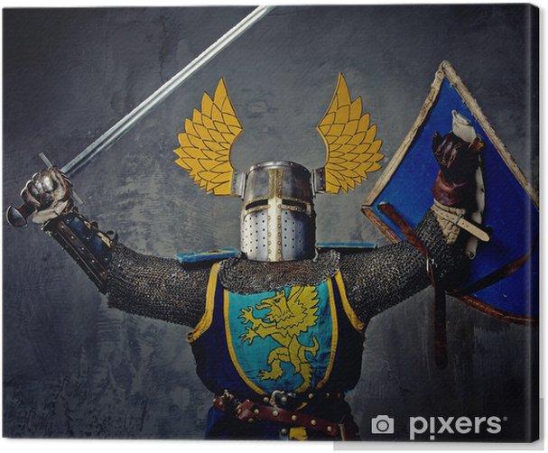 Keskiaikainen ritari harmaalla pohjalla. Kangaskuva - Miehet