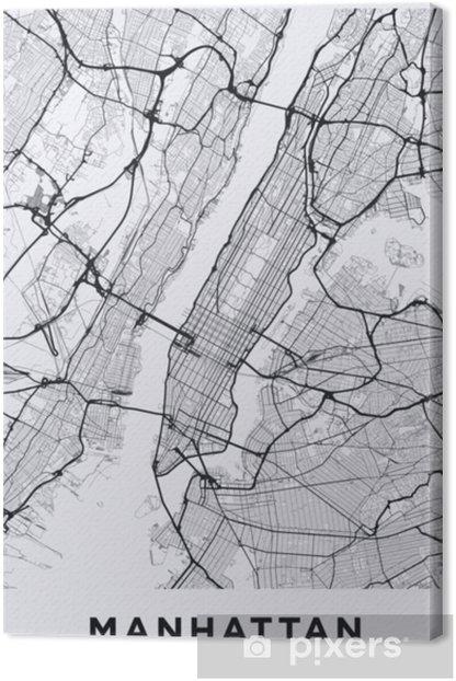 Kevyt manhattan (new york) kartta. manhattan (nyc) -kartta. mustavalkoinen (kevyt) kuva Manhattanin kaduista. Manhattanin liikenneverkko. tulostettava julisteformaatti (muotokuva). Kangaskuva - Graafiset Resurssit